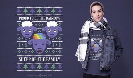 Design de camiseta de ovelhas arco-íris