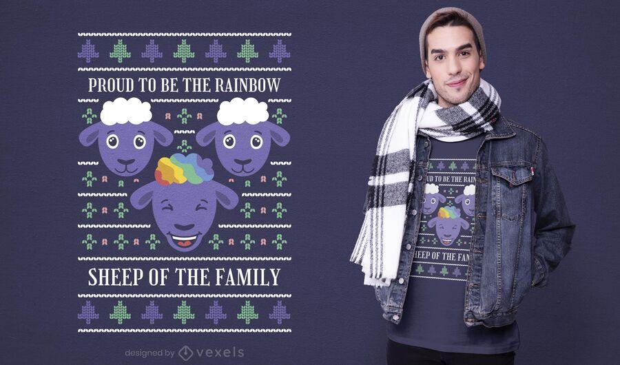 Diseño de camiseta de oveja arcoiris