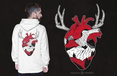 Design de camiseta com coração da floresta