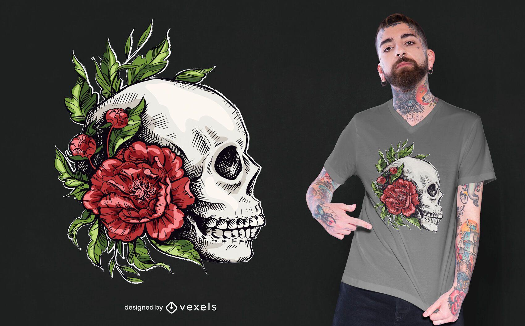 Diseño de camiseta calavera rosas