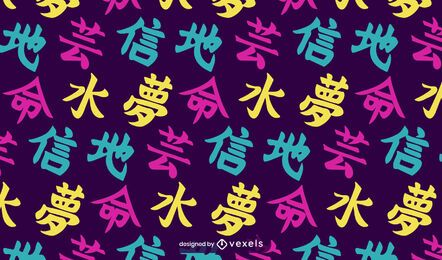 Kanji japanese pattern design