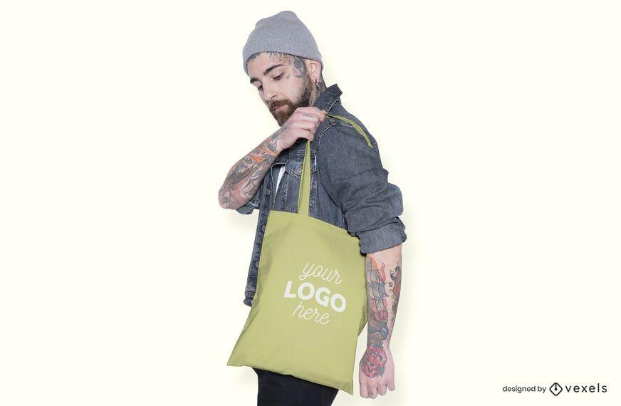 Tote bag male model mockup design