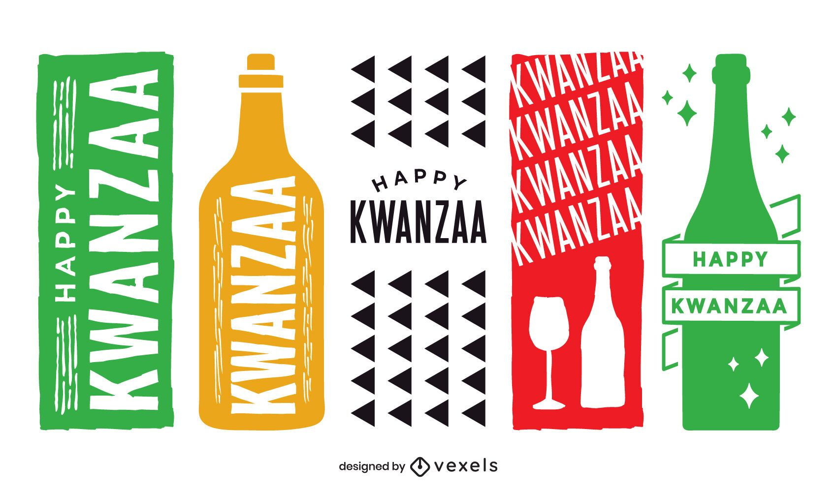 Conjunto de etiquetas de vino Kwanzaa
