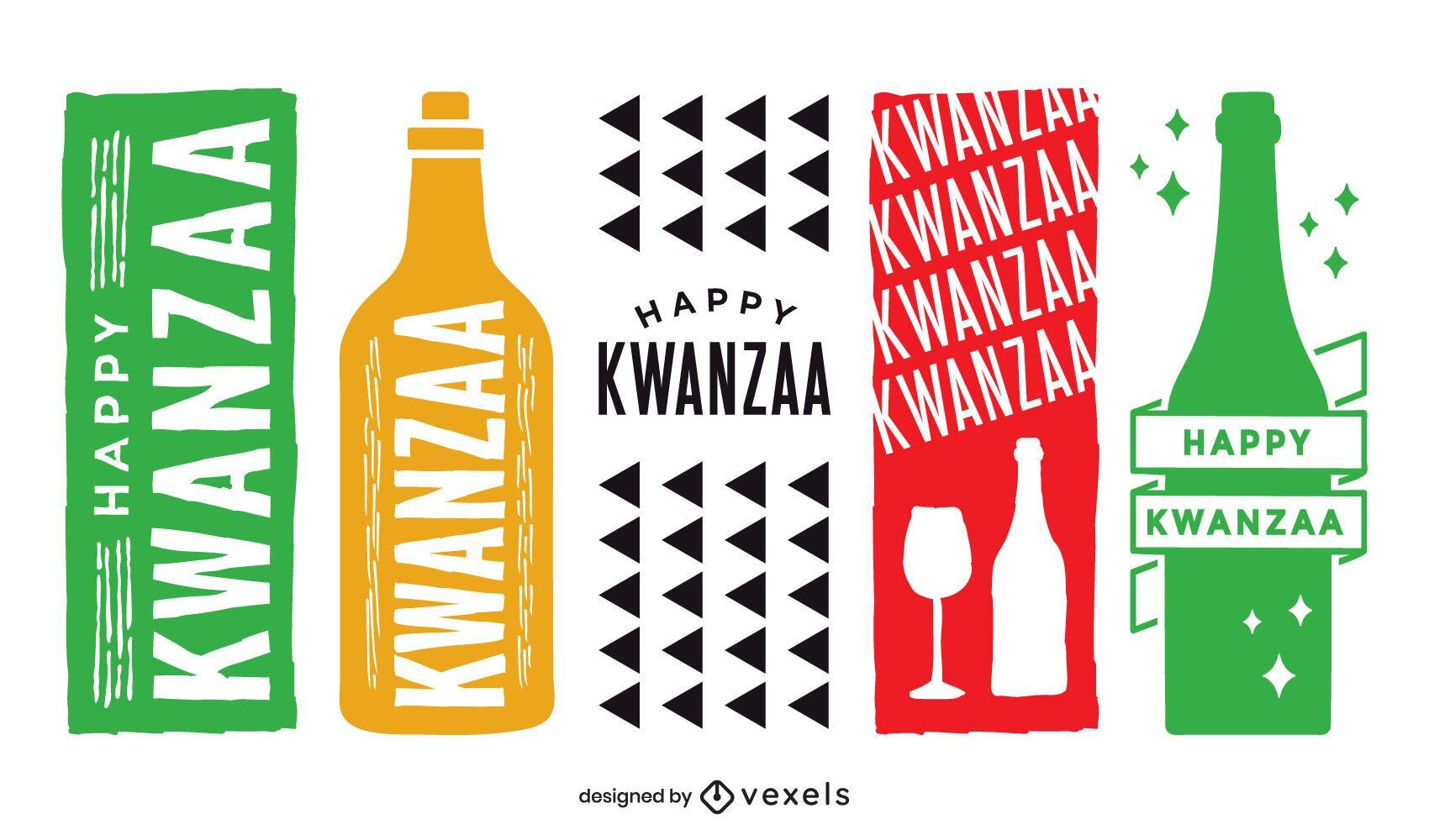 Kwanzaa wine label set