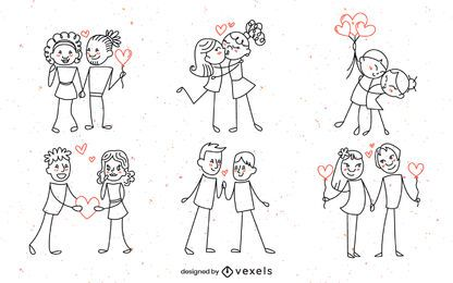 Diseño de conjunto de pareja Doodle