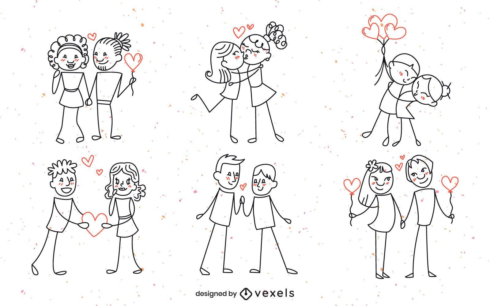 Dise?o de conjunto de pareja Doodle