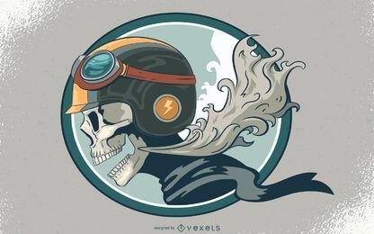 Ilustración de cráneo de motociclista
