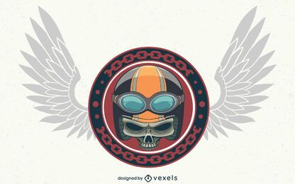 Biker skull illustration design
