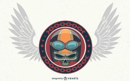 Desenho de ilustração de crânio de motociclista