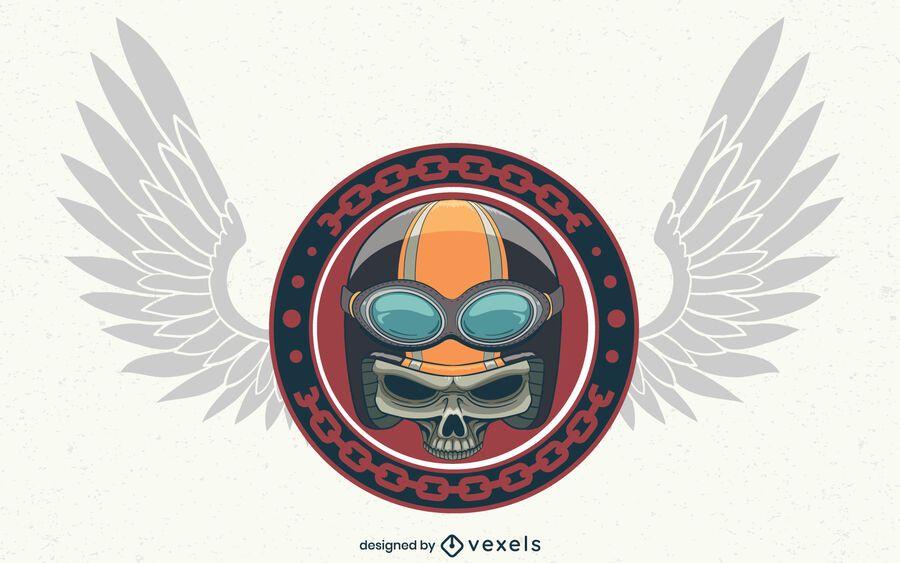 Biker skull illustration design