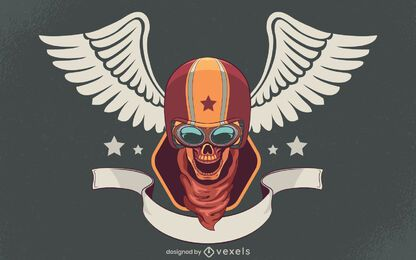 Skull biker illustration design