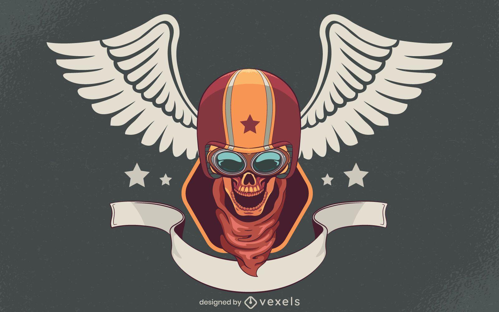 Skull biker illustration design