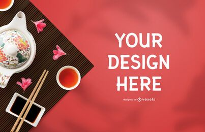 Chinese mockup composition psd