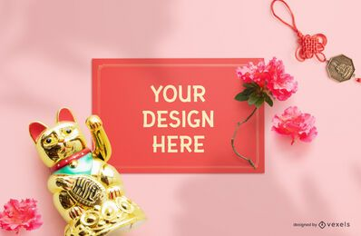 Chinese greeting card psd mockup composition