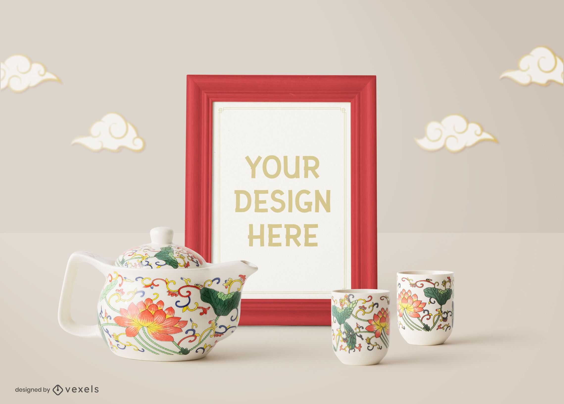 Chinese poster frame mockup composition