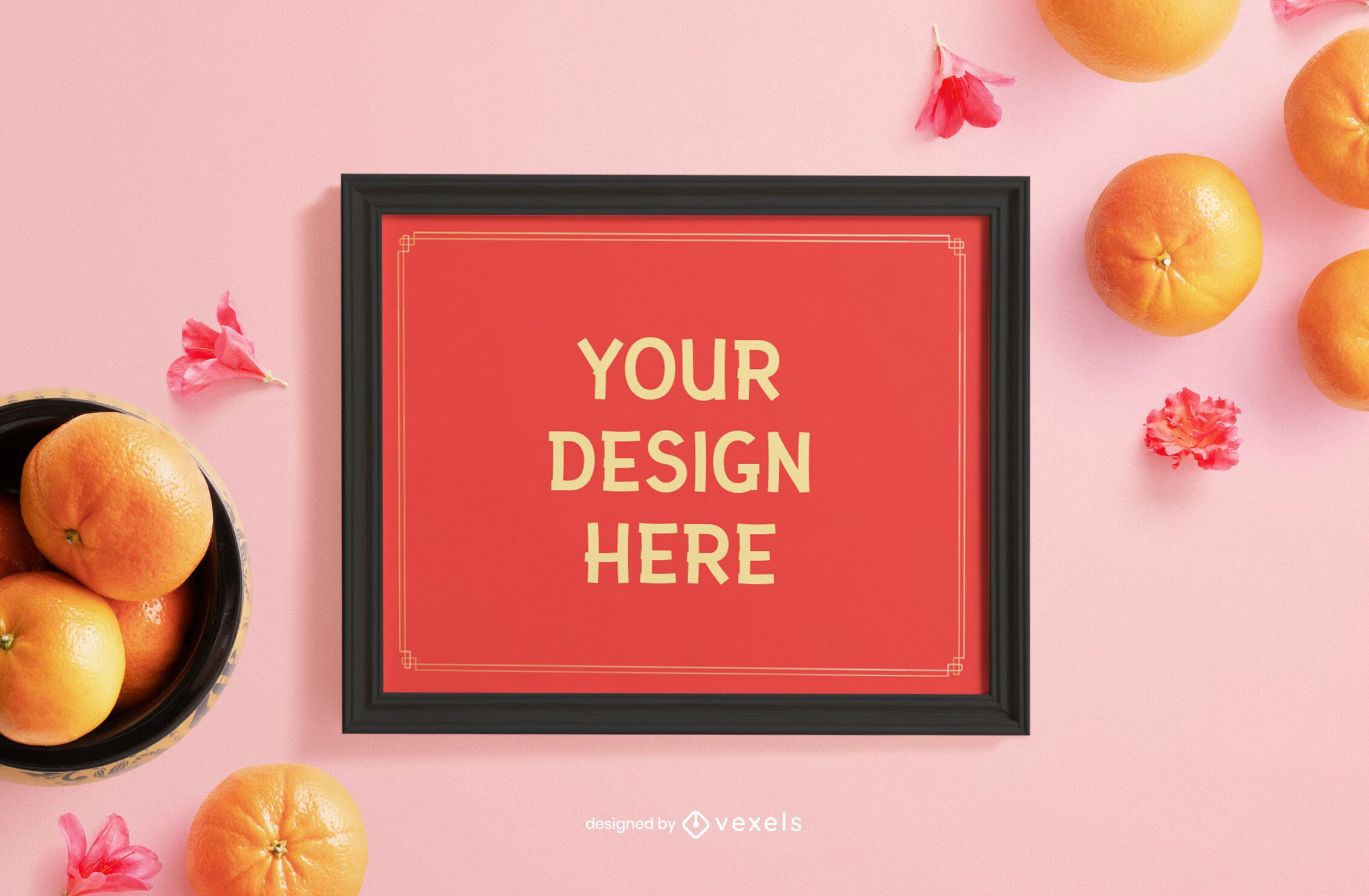 Chinese new year frame mockup composition