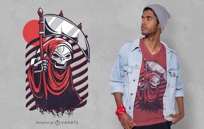 Diseño de camiseta roja grim reaper