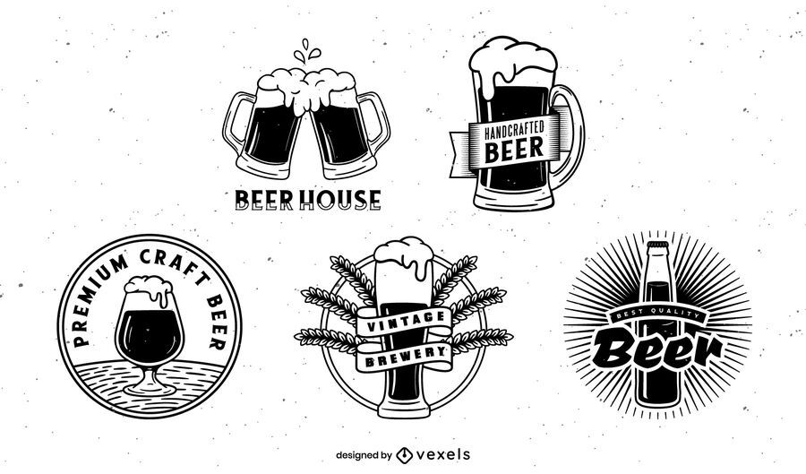 Diseño de paquete de insignias de cerveza
