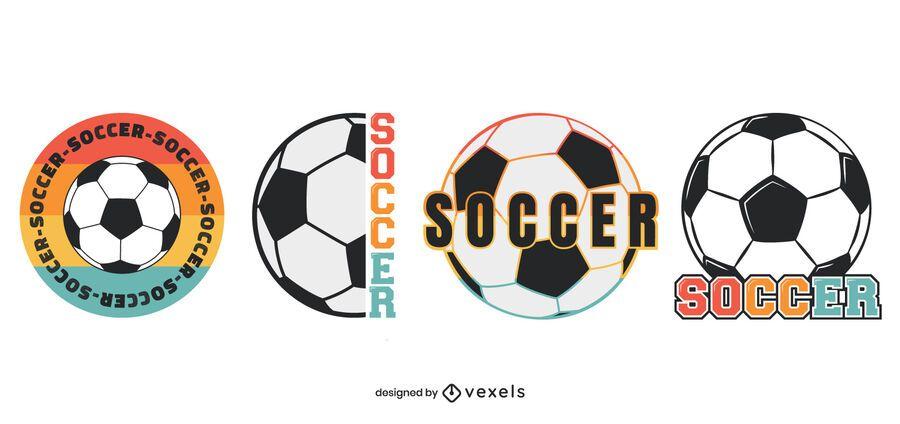 Soccer balls badge set