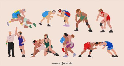 Flat wrestlers set design