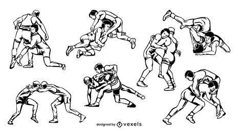 Hand gezeichnete Wrestler setzen Design