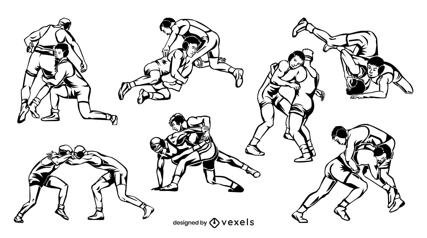 Diseño de escenografía de luchadores dibujados a mano
