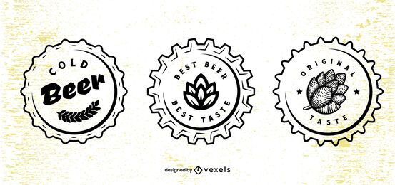 Conjunto de design de tampa de cerveja
