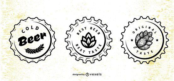 Conjunto de diseño de tapa de cerveza