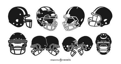 Conjunto de design de capacete de futebol