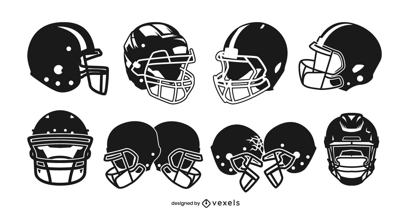Conjunto de diseño de casco de fútbol