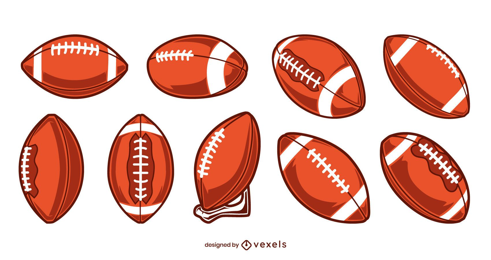 American football balls set
