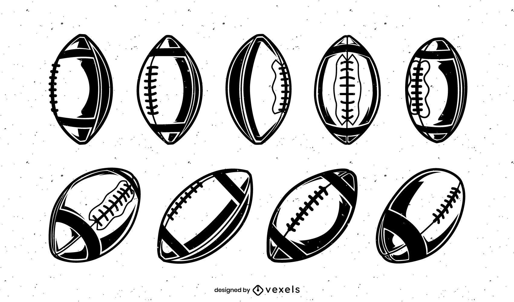American football vintage balls set