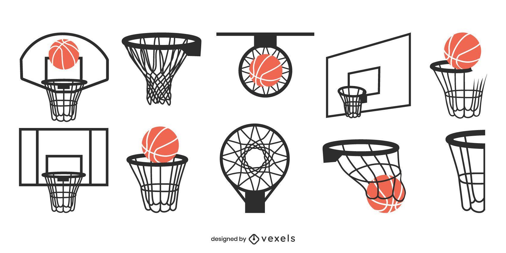Conjunto de design de basquete na tabela