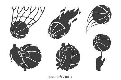Conjunto de diseño de composiciones de baloncesto.