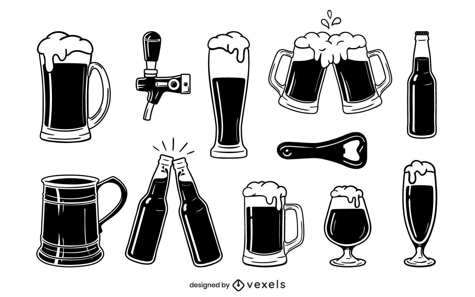 Cenografia de elementos de cerveja em preto e branco