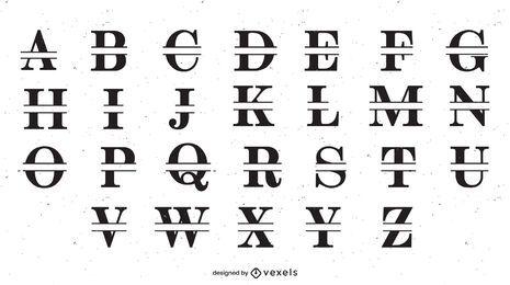 Diseño de conjunto de alfabeto dividido