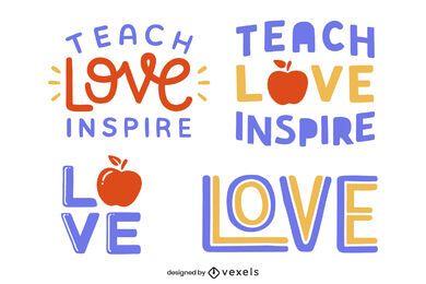 Teaching lettering set design