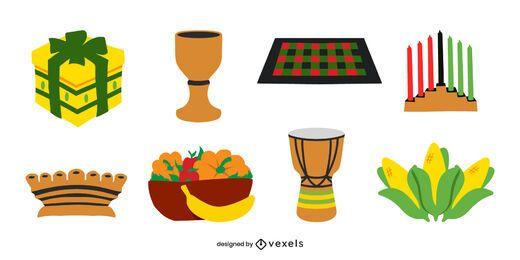 Kwanzaa elements flat set