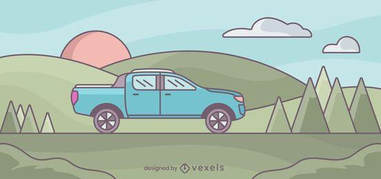 Ilustración de paisaje de camioneta pickup