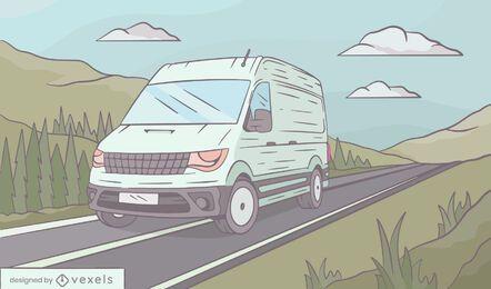 Ilustração do cenário da van com tripulação