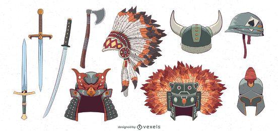 Conjunto de ilustração de elementos de guerra