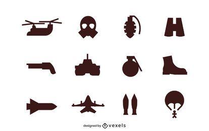 Conjunto de iconos de silueta de ejército
