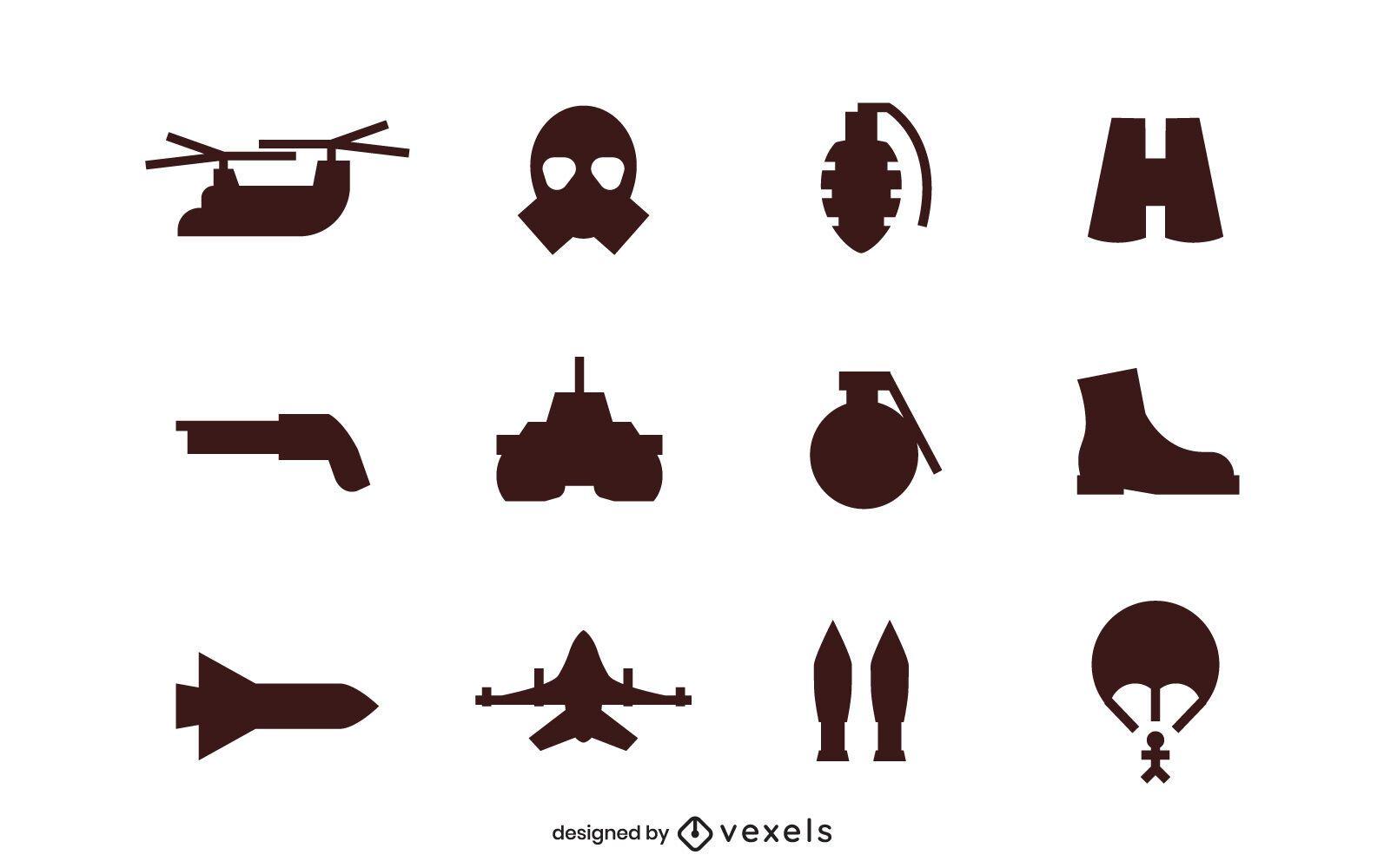 Army silhouette icon set