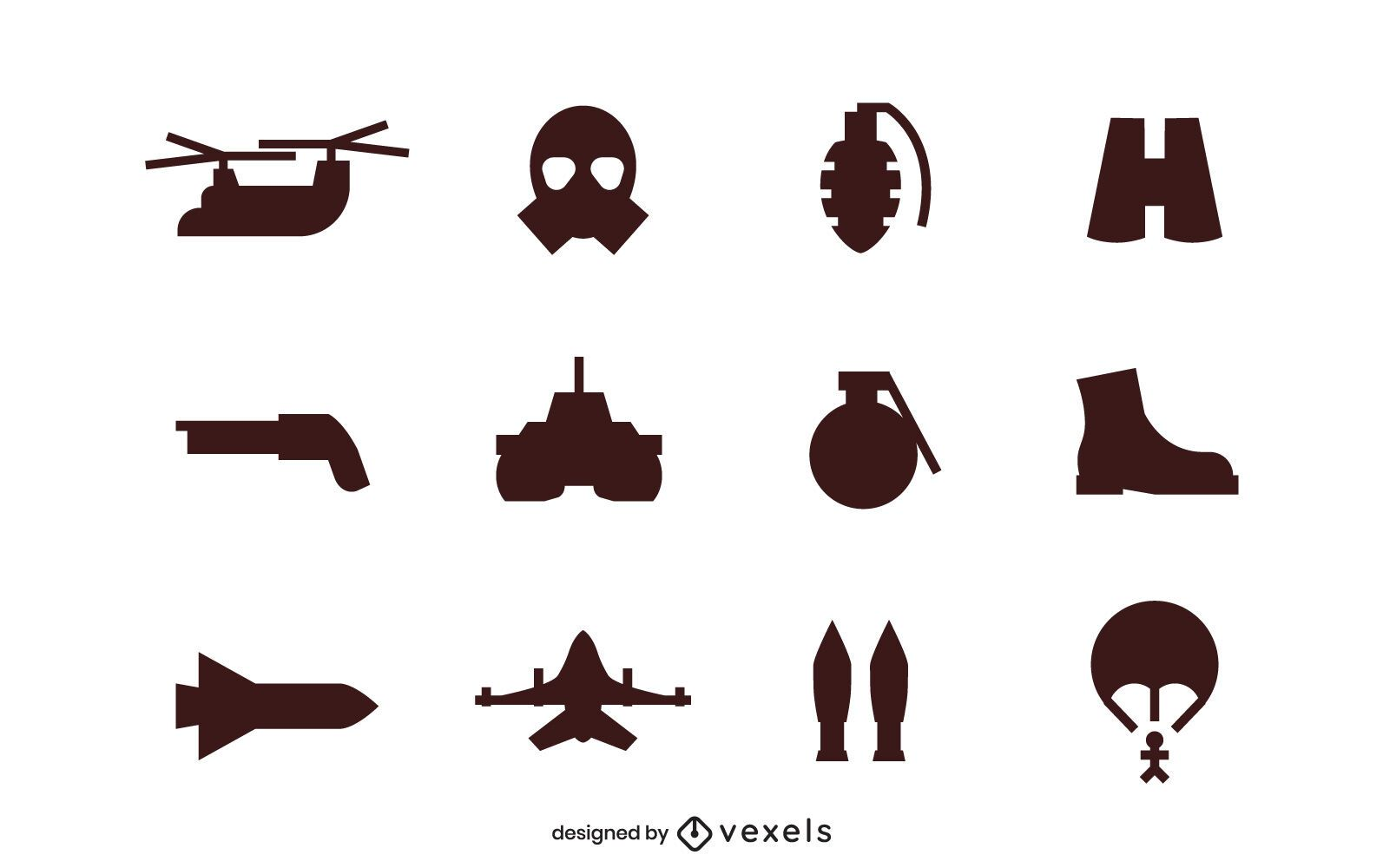 Conjunto de ícones de silhueta do exército