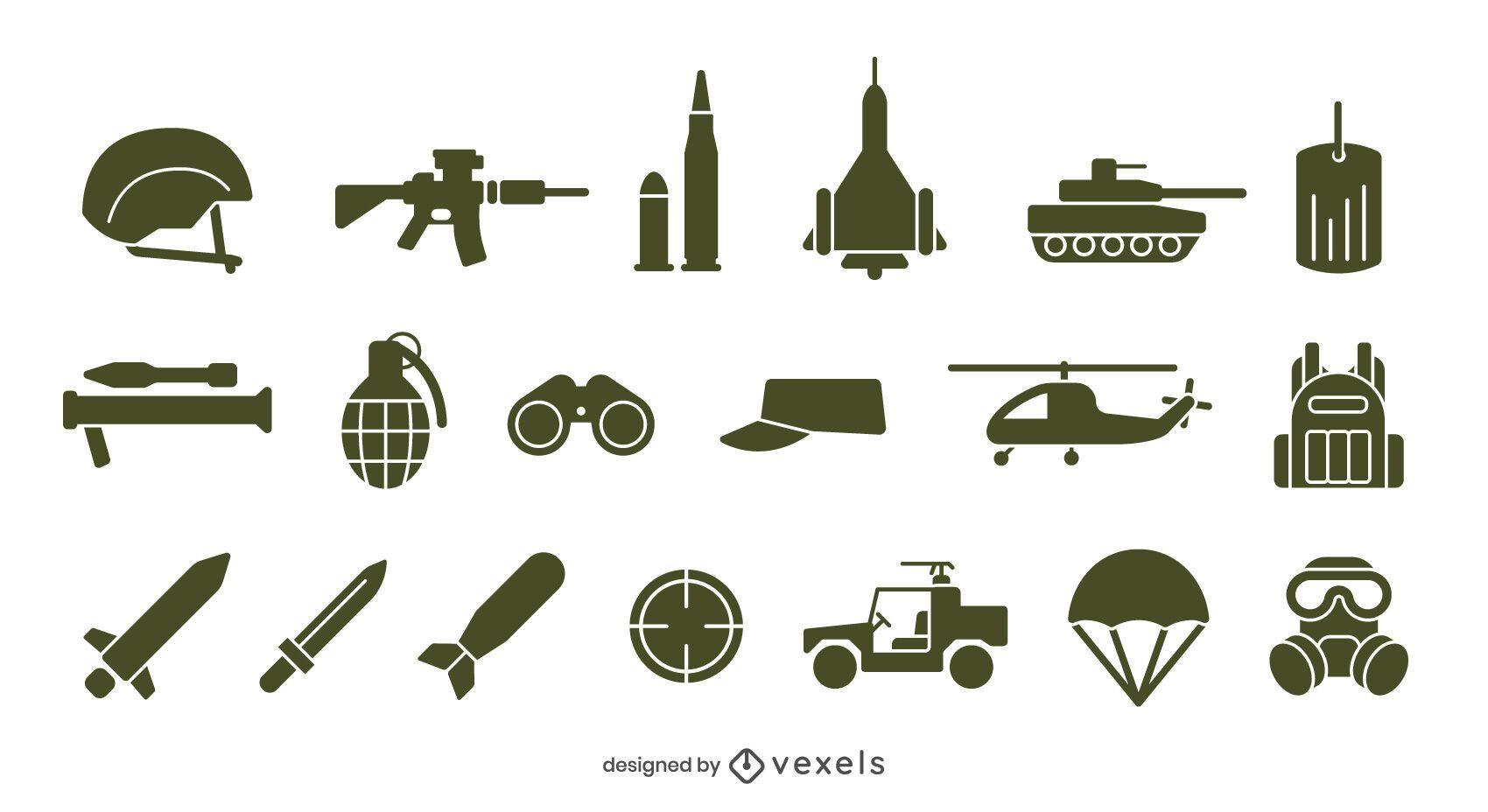 Diseño de conjunto de iconos de ejército
