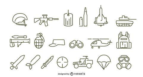 Diseño de conjunto de iconos de trazo de ejército