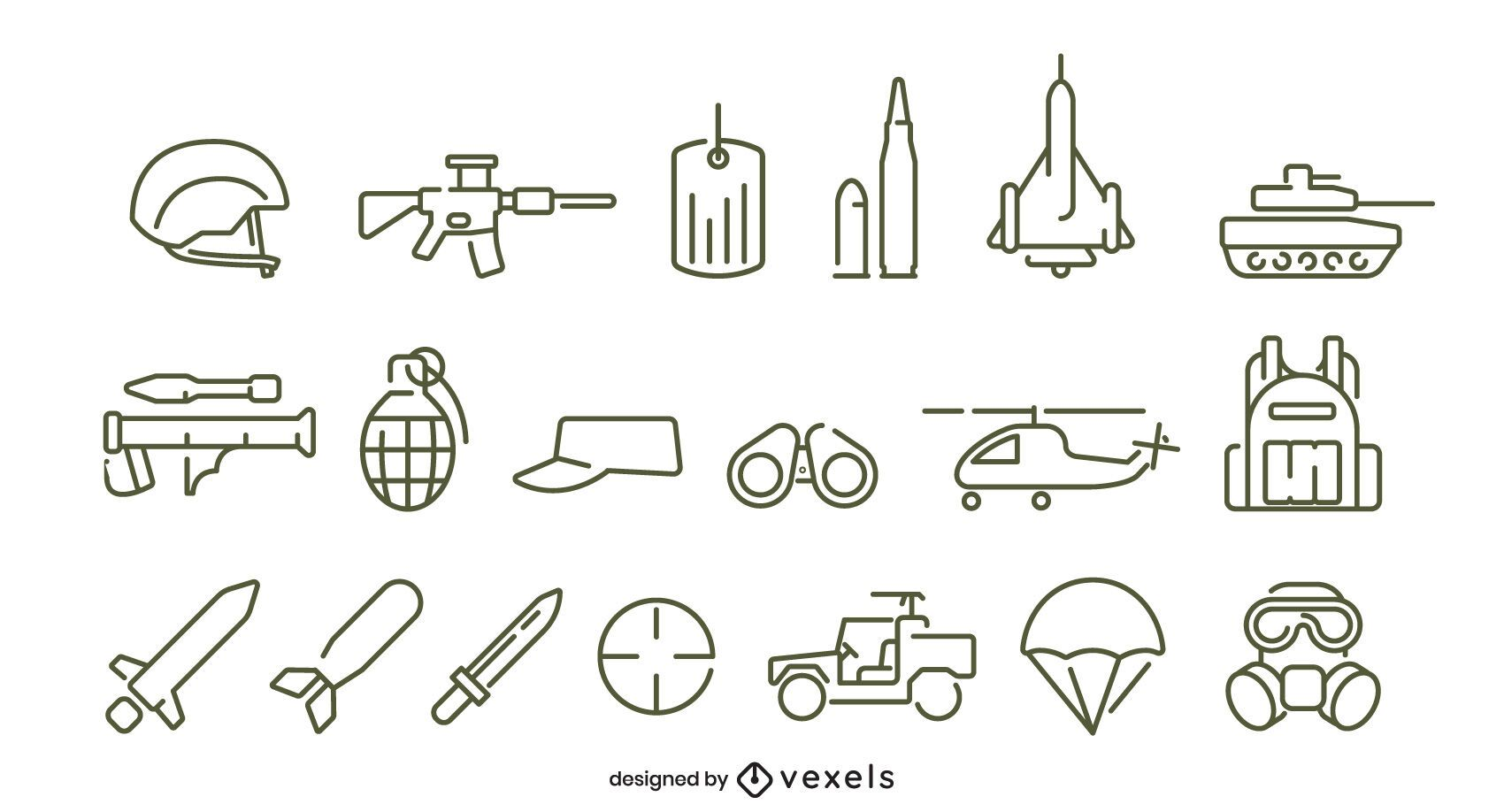 Army stroke icon set design