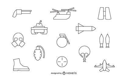 Conjunto de iconos de trazo del ejército