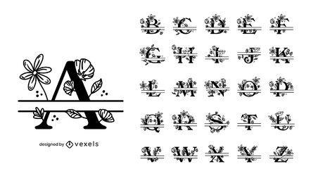 Blumen-geteiltes Alphabet-Set-Design
