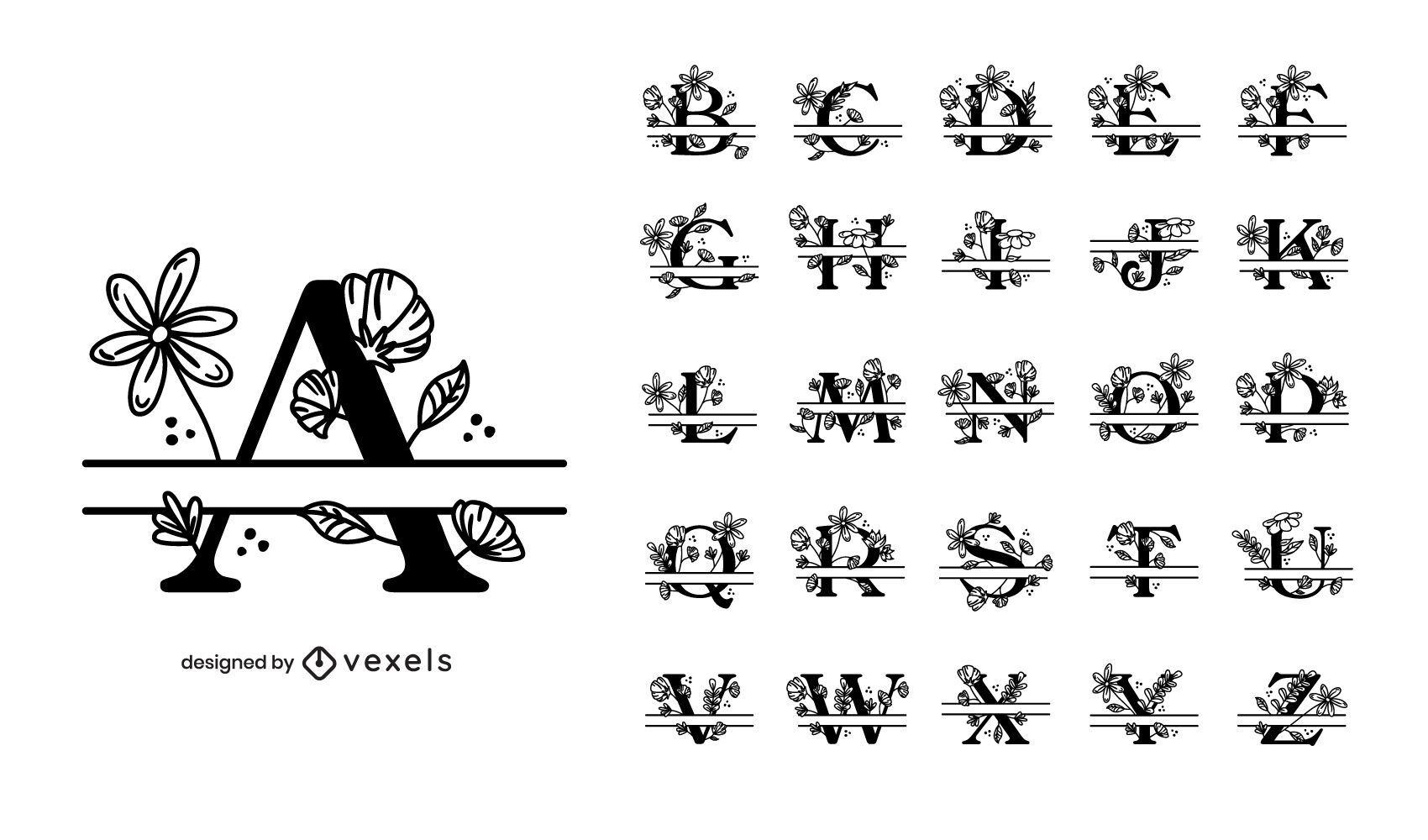 Diseño de conjunto de alfabeto floral dividido